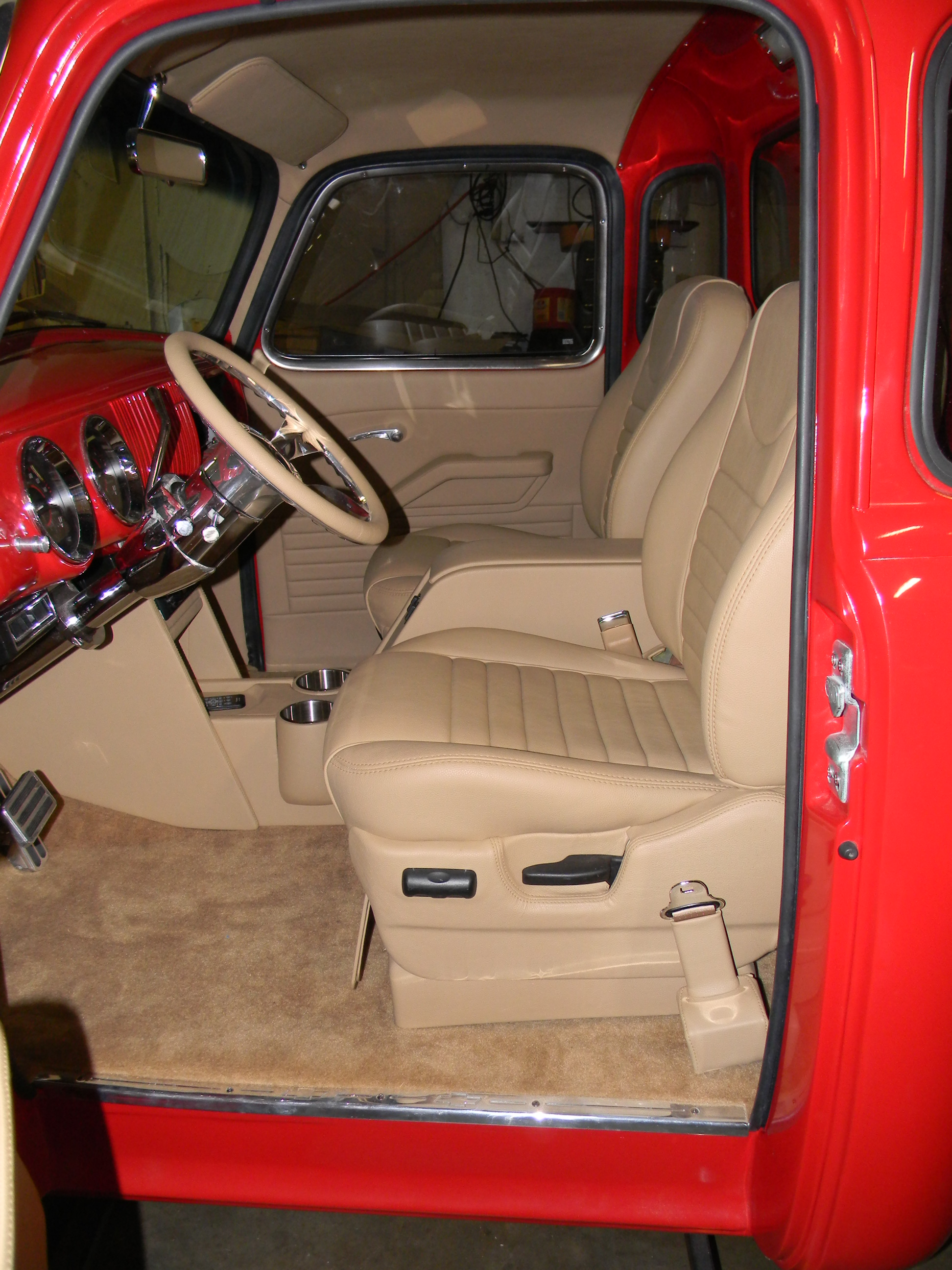 1954 Chevy Truck Red Custom Interior Upholstery